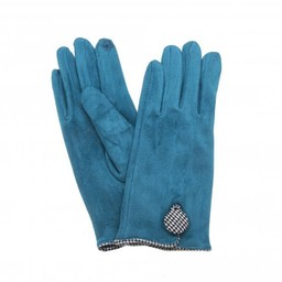 Lucy Cobb Accessories Dixie Dogtooth Button Gloves in Teal