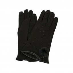 Lucy Cobb Accessories Felicity Faux Fur PomPom Gloves in Black