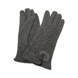 Lucy Cobb Accessories Felicity Faux Fur PomPom Gloves in Charcoal