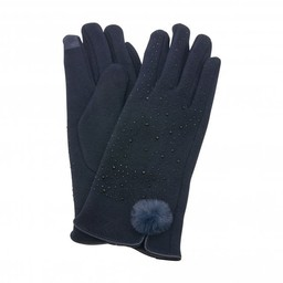 Lucy Cobb Accessories Felicity Faux Fur PomPom Gloves in Navy