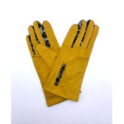 Lucy Cobb Accessories Belle Button Gloves in Mustard