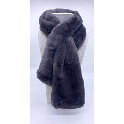 Lucy Cobb Accessories Faye Faux Fur Scarf in Charcoal