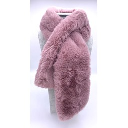 Lucy Cobb Accessories Faye Faux Fur Scarf in Dusky Pink
