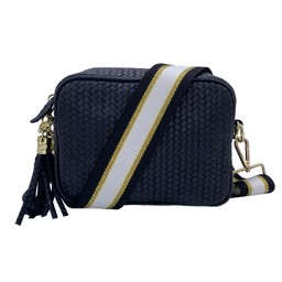 Elie Beaumont Leather Weave Crossbody Bag - Black with Black Gold Stripe