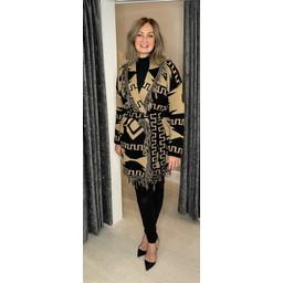 Lucy Cobb Freya Fringe Tie Cardigan  - Camel Mix