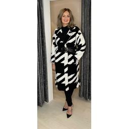 Lucy Cobb Alexa Aztec Wool Coat - Black & White