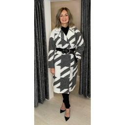 Lucy Cobb Alexa Aztec Wool Coat in Grey & White