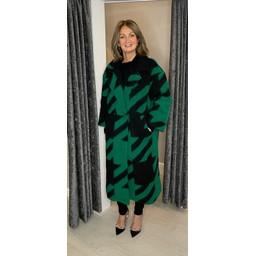 Lucy Cobb Alexa Aztec Wool Coat in Emerald Green