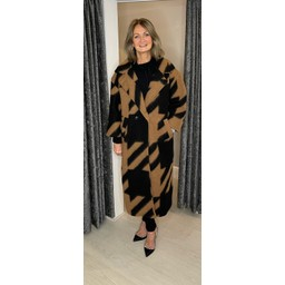 Lucy Cobb Alexa Aztec Wool Coat in Camel