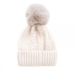 Lucy Cobb Accessories Cassie Cable Knit Hat - Cream