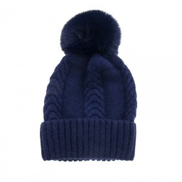 Lucy Cobb Accessories Cassie Cable Knit Hat - Navy