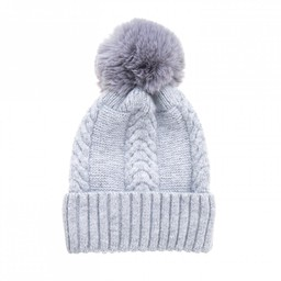 Lucy Cobb Accessories Cassie Cable Knit Hat - Silver Grey