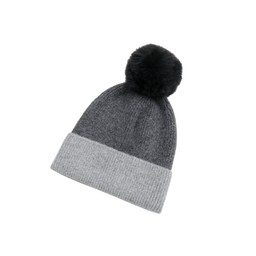 Lucy Cobb Accessories Two Tone Faux Fur Hat - Dark Grey