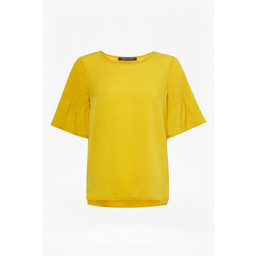 French Connection Classic Crepe Fluted t shirt - Yellow