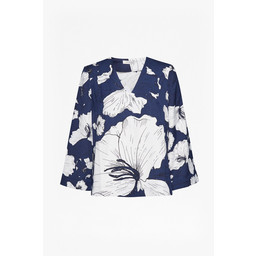 Great Plains Tropical Fauna V Neck Blouse - Navy Mix