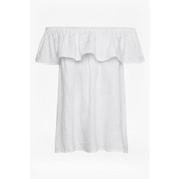 Great Plains Lagos Linen Cold Shoulder Top - Off-White
