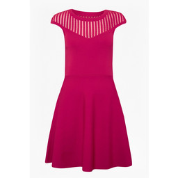 French Connection Rose Crepe Fit and Flare Dress - Magenta
