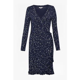 Great Plains Dotty Daze Jersey Ruffle Dress - Navy