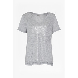 Great Plains Let It Shine V Neck T Shirt - Grey Metallic