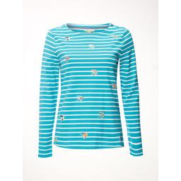 White Stuff Birdie Stripe Jersey Tee - Turquoise