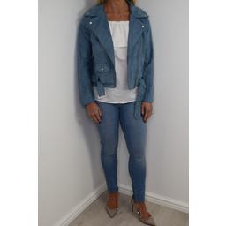 Glamorous Faux Suede Biker Jacket - Dusty Blue