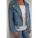 Faux Suede Biker Jacket - Dusty Blue - Alternative 1