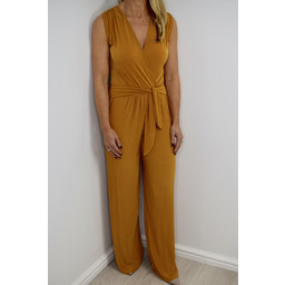 Lucy Cobb Pleated Wide Leg Jumpsuit - Mustard