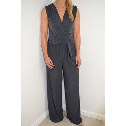 Lucy Cobb Pleated Wide Leg Jumpsuit - Grey