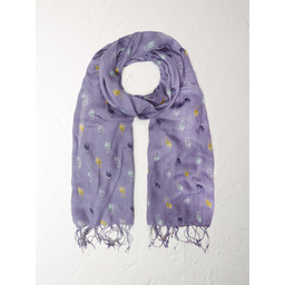 White Stuff Cute Cat Scarf - Lilac