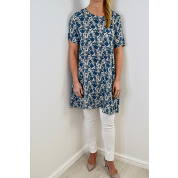 Glamorous Floral Tunic - Blue