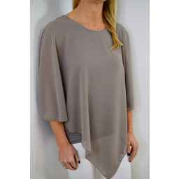 Deck Candice Chiffon Top - Taupe