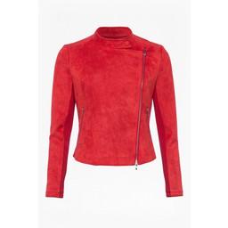 French Connection Ellef Suedette Biker Jacket - Red