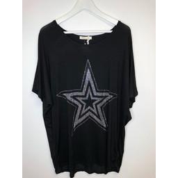 Malissa J Star Jersey Top - Black