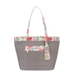 David Jones Weaved Floral Shopper - Grey