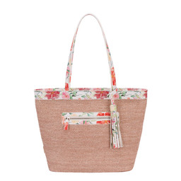 David Jones Weaved Floral Shopper - Pink