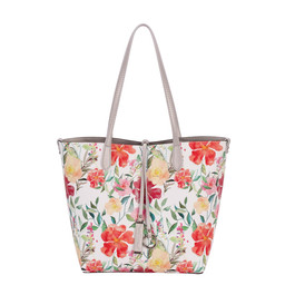 David Jones Floral Reversible Bag - Silver