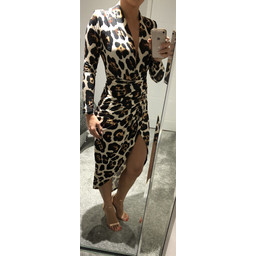 John Zack Long Sleeve Wrap Front Plunge Maxi Dress in Animal Print