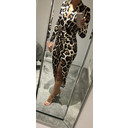 Long Sleeve Wrap Front Plunge Maxi Dress - Animal Print - Alternative 1